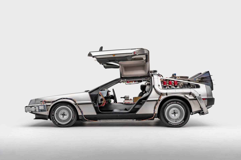 "DeLorean Time Machine. Driven in ""Back to the Future"" (1985), ""Back to the Future II,"" (1989), and ""Back to the Future III"" (1990). Designer: Ron Cobb & Andrew Probert"